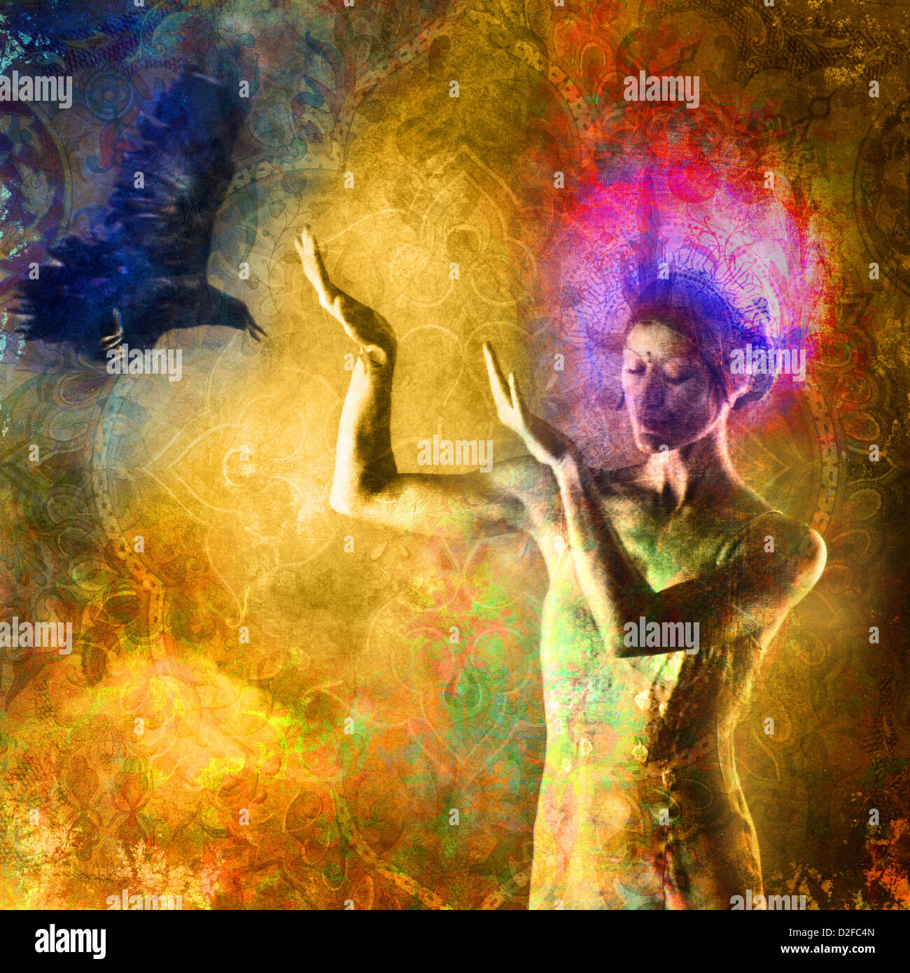 Woman with light crown gesturing towards in coming raven. Photo based illustration. - Stock Image