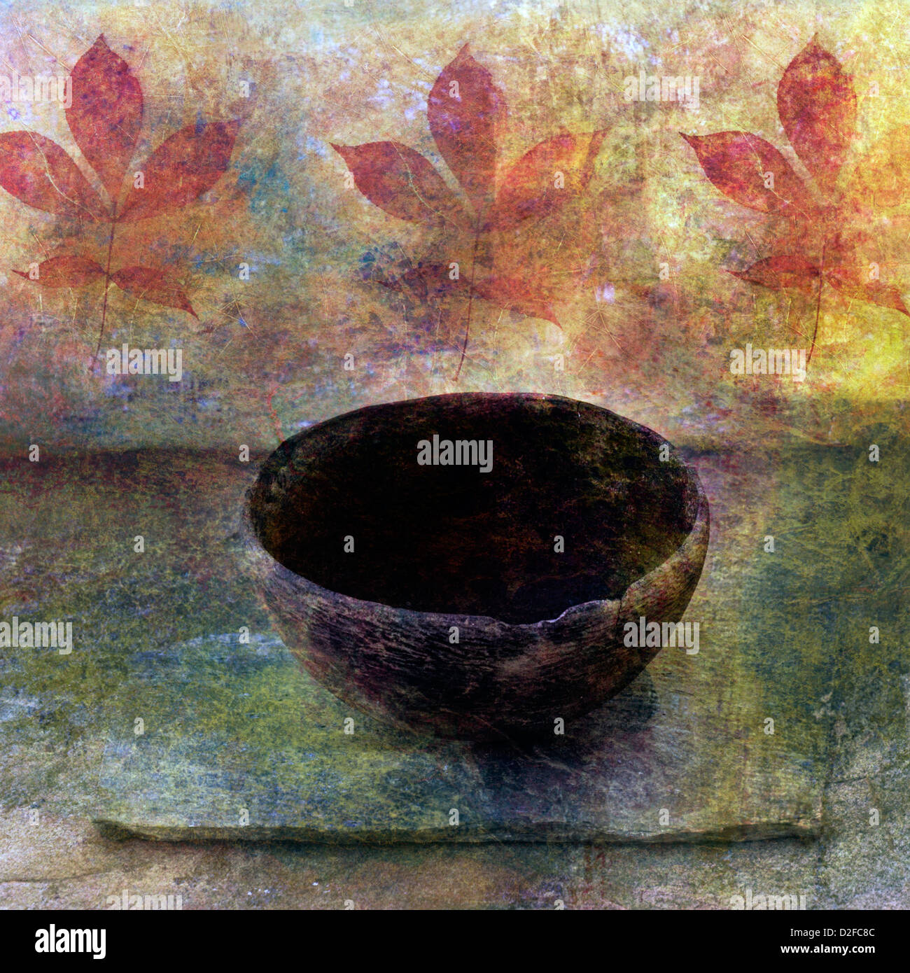 Empty ancient bowl in a still life setting. - Stock Image