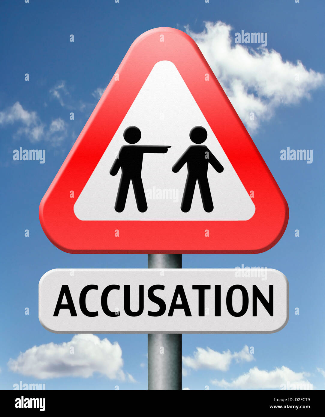 accusation false or real by pointing finger charged or found guilty of a crime or not by judge eye witness - Stock Image