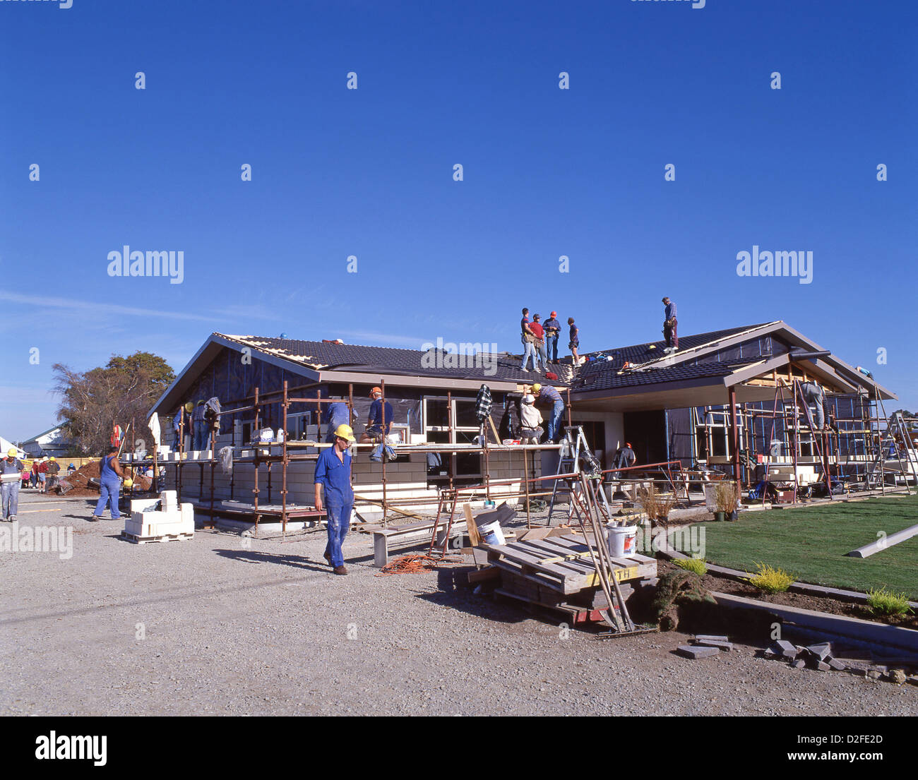 A hall built in a weekend by large group of volunteers, Spreydon, Christchurch, Canterbury District, South Island, - Stock Image