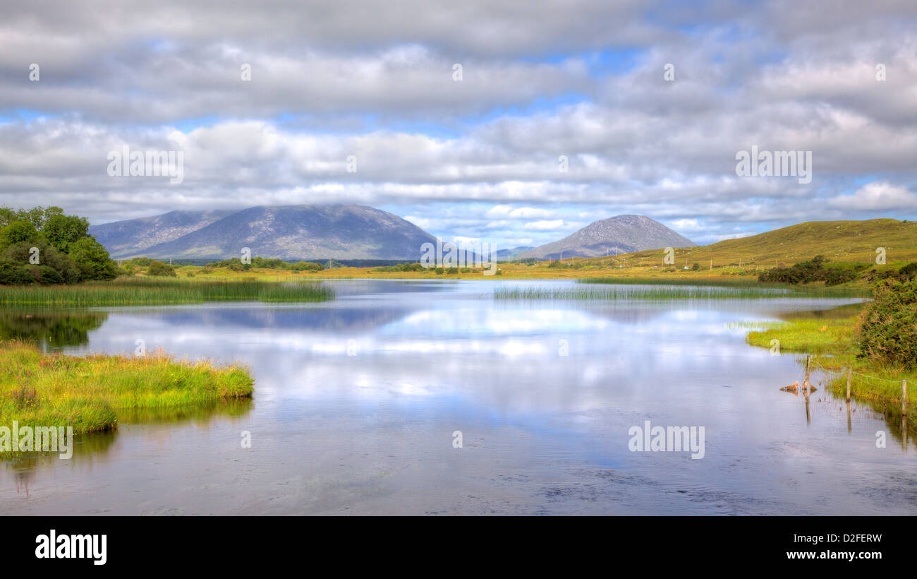 View from the Quiet Man Bridge in County Galway, Ireland. The historic stone bridge featured in the 1950s film, - Stock Image