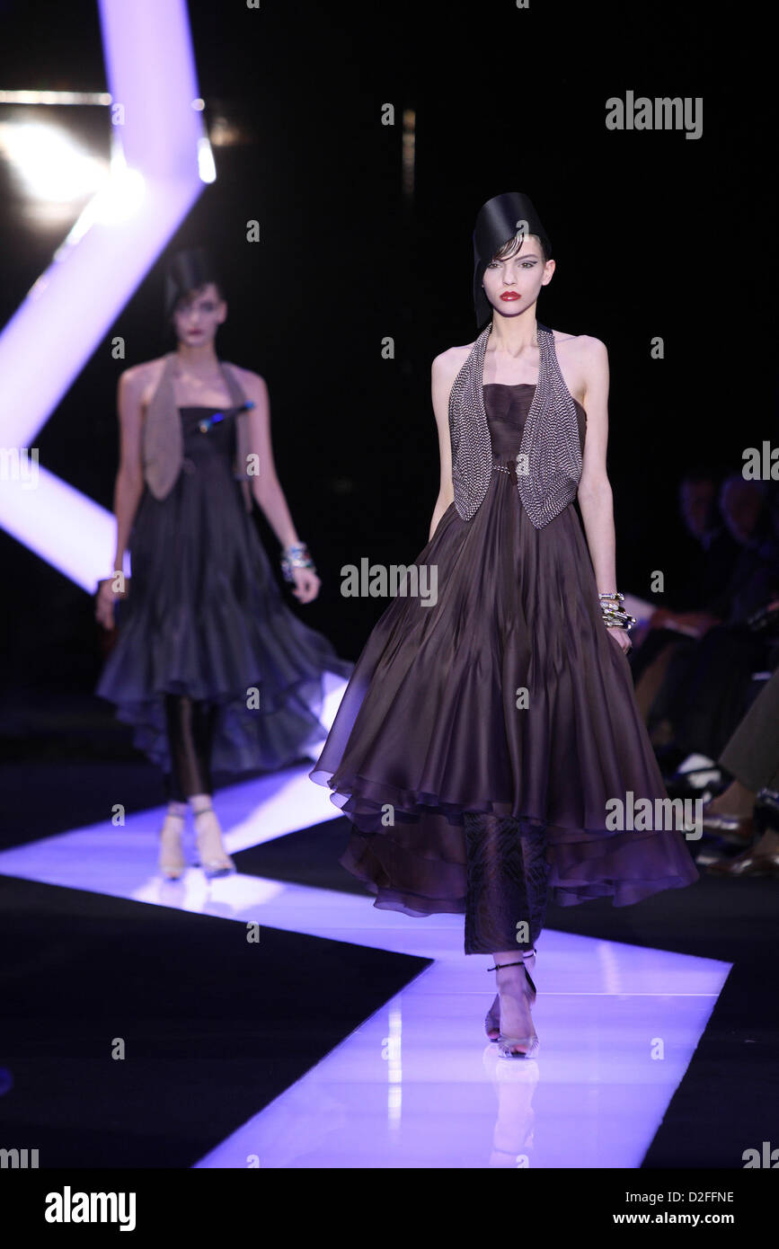 Models Wear Creations By Italian Designer Giorgio Armani As Part Of