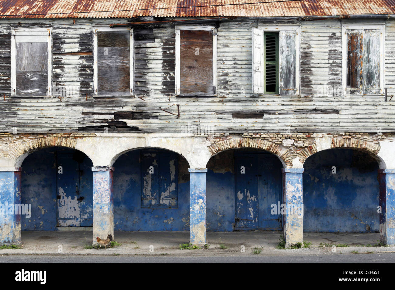 Neglected House, Frederiksted, St. Croix, US Virgin Islands, Caribbean - Stock Image