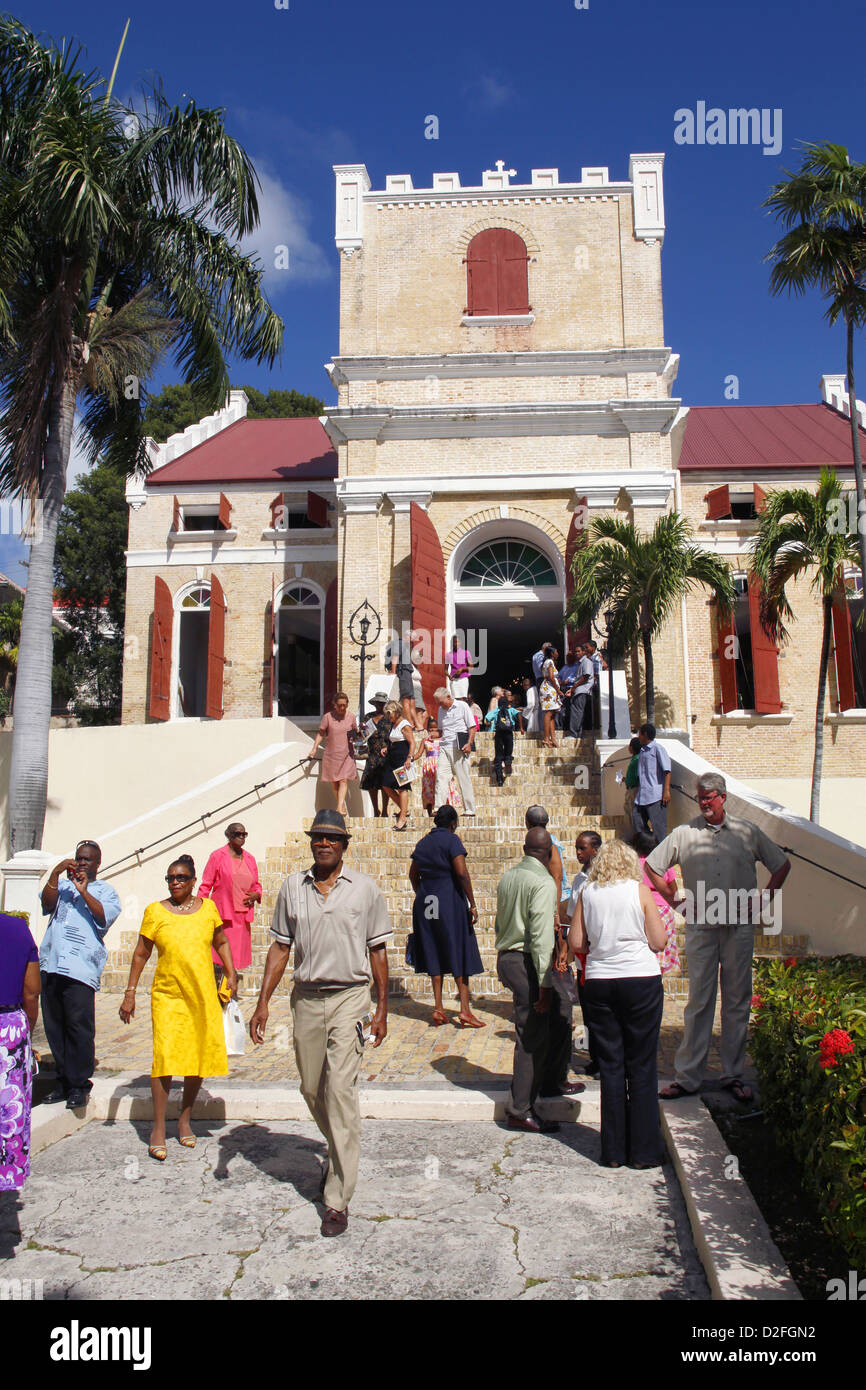 After Sunday Mass, Frederick Evangelical Lutheran Church, Charlotte Amalie, St. Thomas, US Virgin Islands, Caribbean - Stock Image