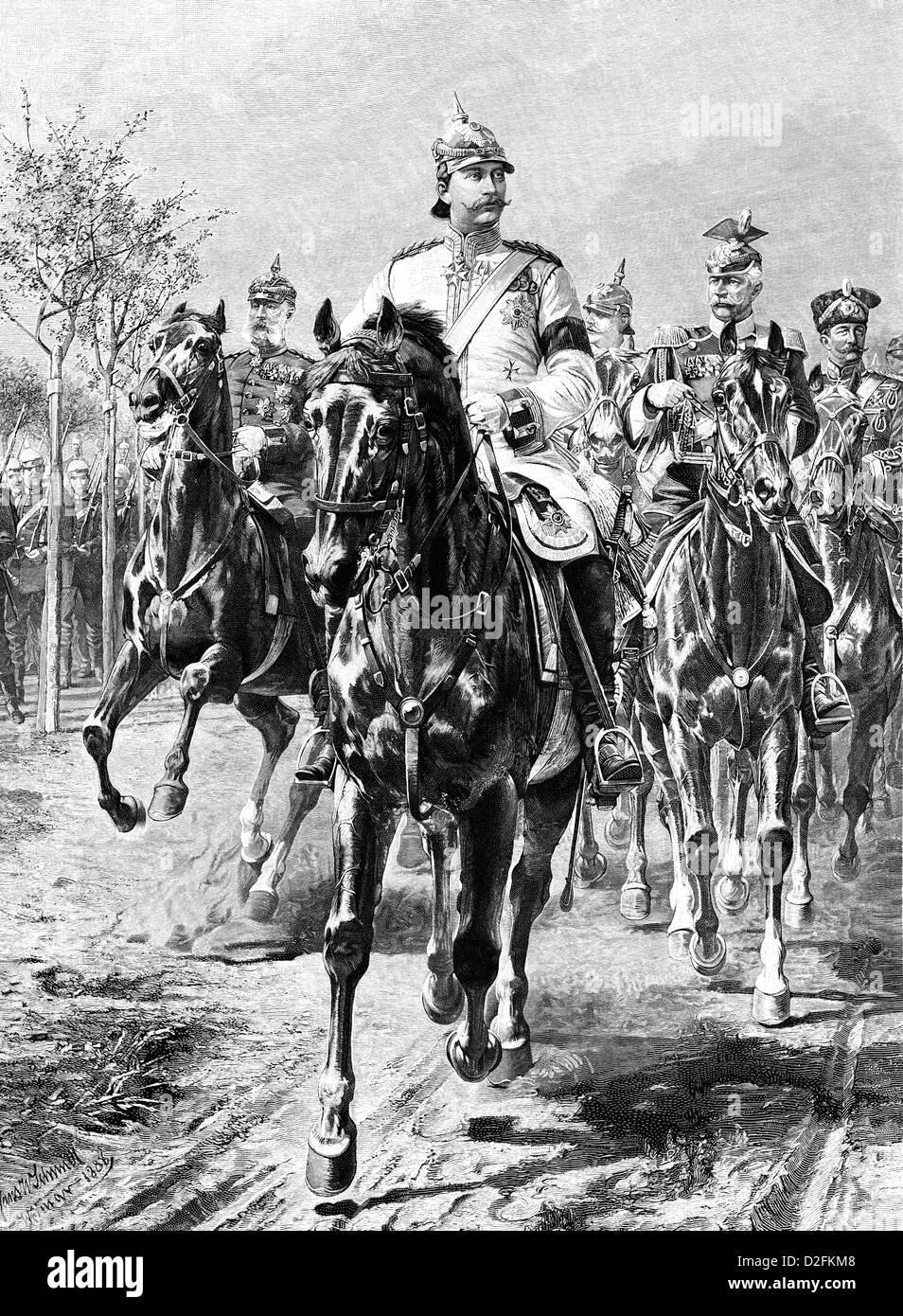 Wilhelm II or William II, and his entourage on horseback, 1859-1941, German Emperor, King of Prussia Stock Photo