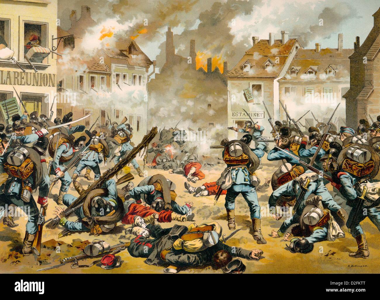 Kingdom of Prussia, Der Kampf um Bazeilles am 1. September 1870 , ein Gefecht der Schlacht von Sedan, historische - Stock Image