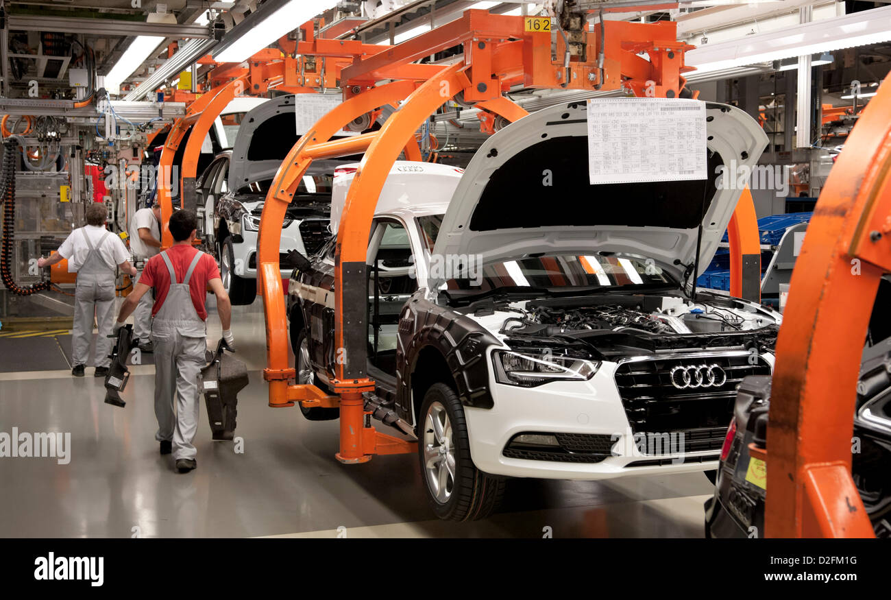 Production Line For Audi A4 At The Audi Factory In