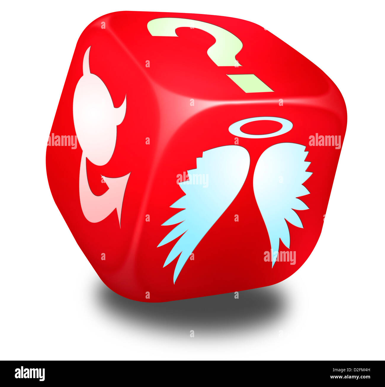 Red dice with symbols representing and Angel, the Devil and a Question mark on its sides - Choices concept - Stock Image