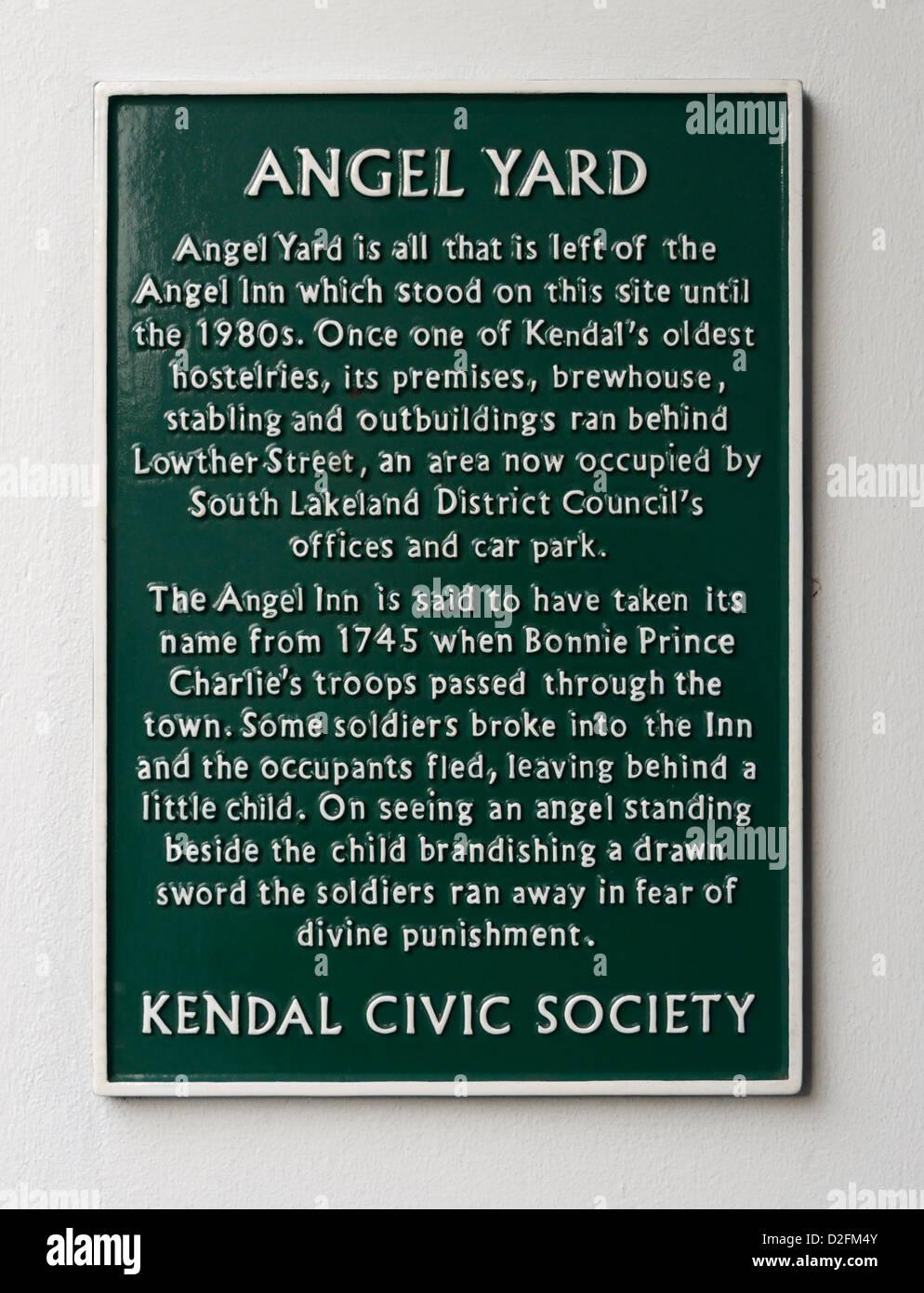 Descriptive plaque. Angel Yard, Kendal, Cumbria, England, United Kingdom, Europe. - Stock Image
