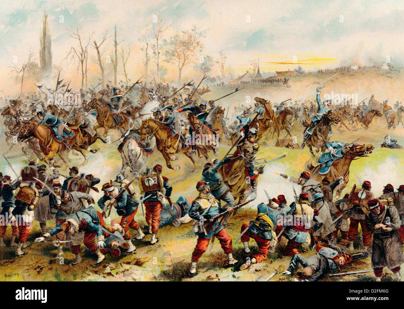 Battle of Saint-Quentin on 19 January 1871, Franco-Prussian War or Franco-German War, 1870-1871 - Stock Image