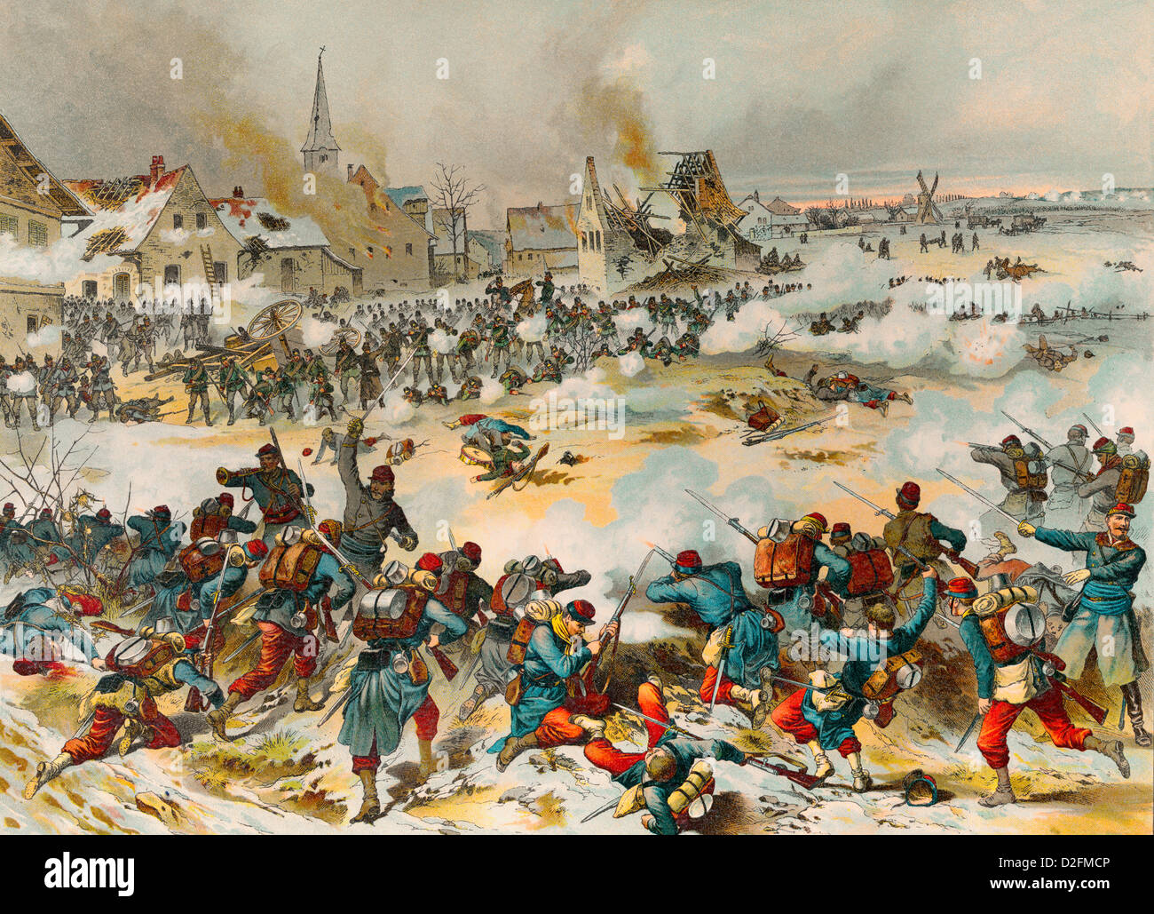 Battle of Bapaume on 3 January 1871, Franco-Prussian War or Franco-German War, 1870-1871, - Stock Image
