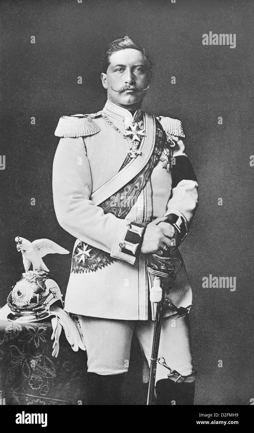 Wilhelm II as regimental commander, uniform of the Garde du Corps cuirassiers, German Emperor and King of Prussia, - Stock Image