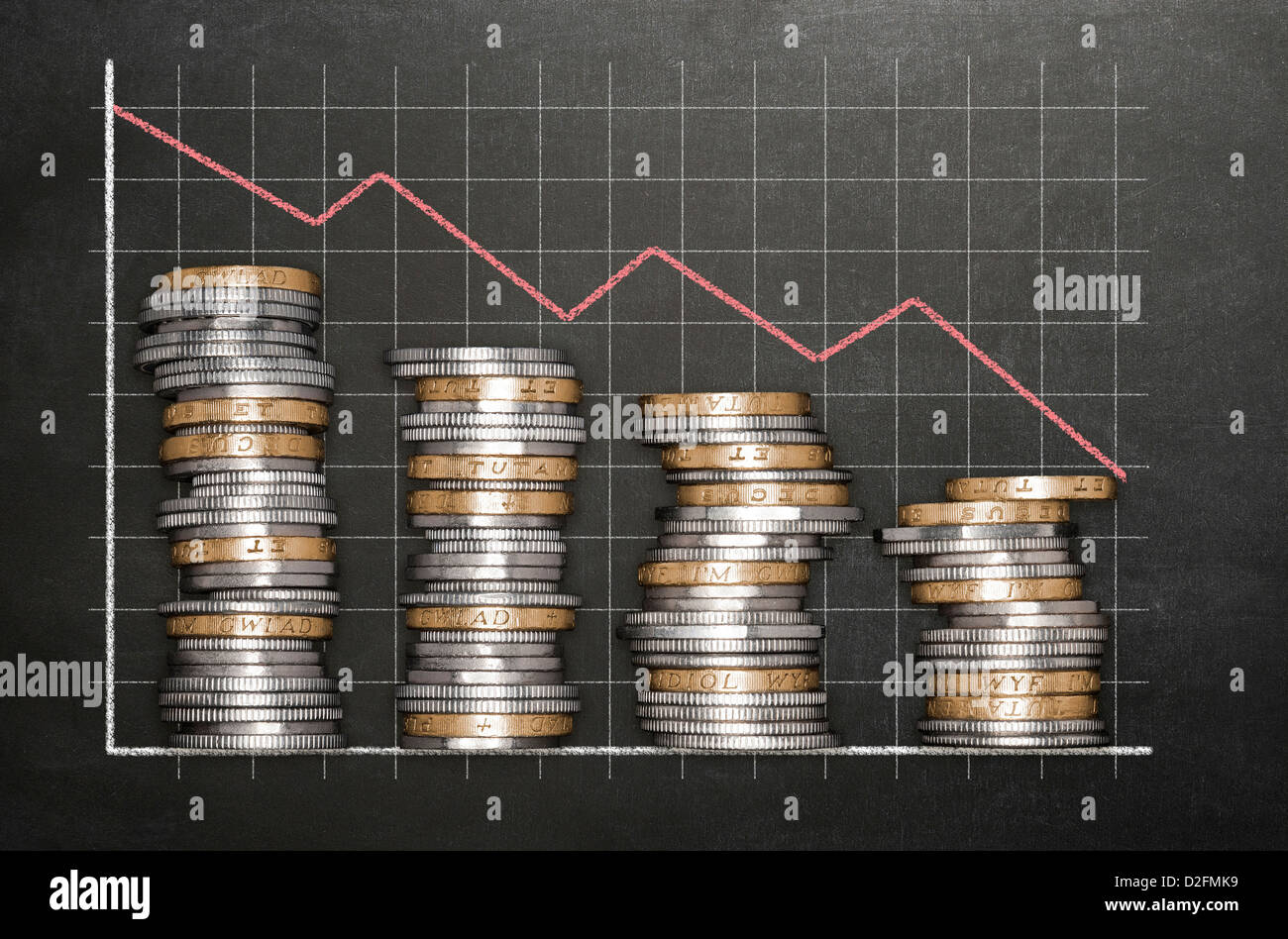 Concept finance business financial loss concept - Stacks of coins on a blackboard background forming a descending - Stock Image