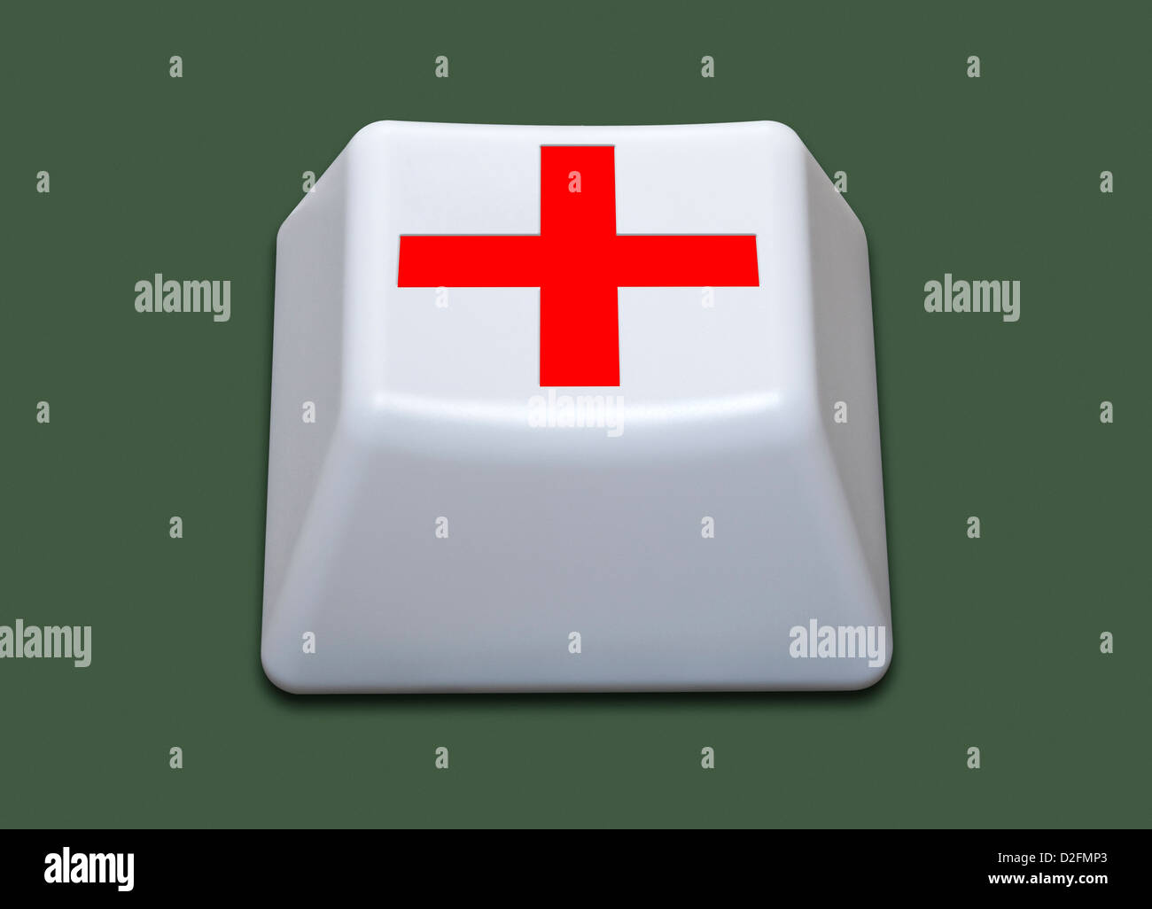 Isolated white computer key with a red cross symbol on it. Healthcare / online / digital / future technology concept - Stock Image