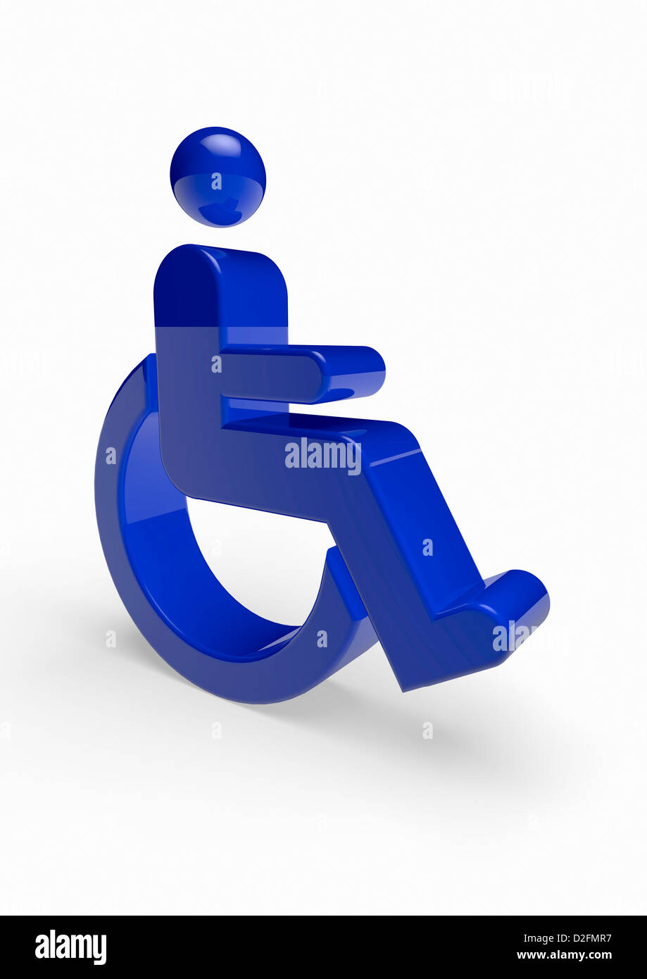 Blue disabled symbol on white background - Stock Image