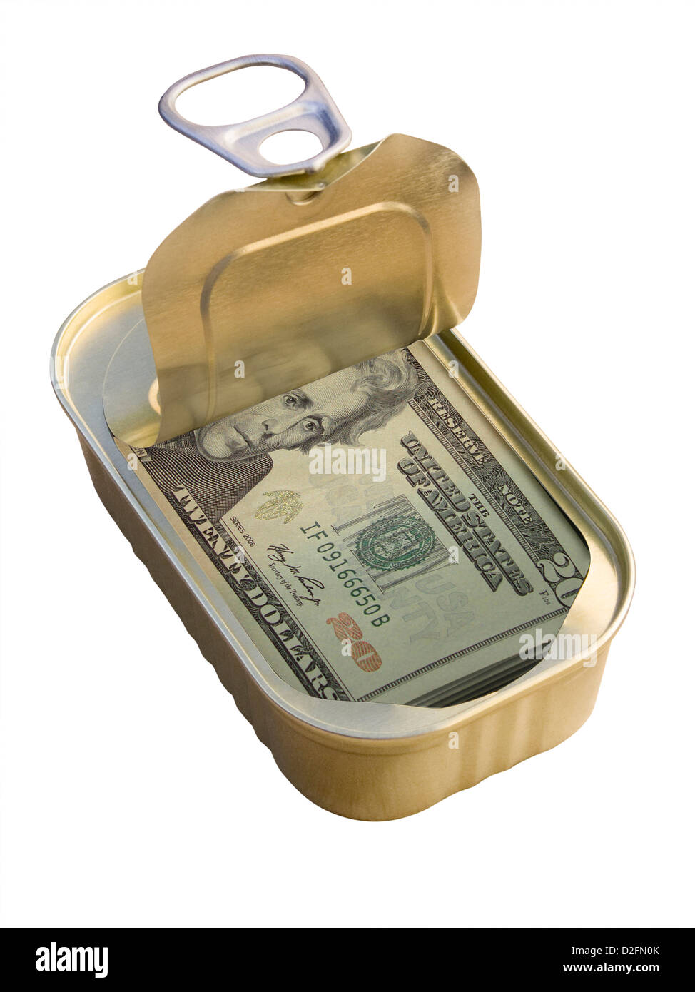 Ring Pull Tin containing 20 Dollar notes on white background - saving / hiding money concept - Stock Image