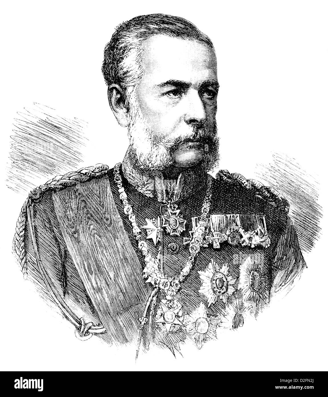 Historic drawing, portrait of Georg Friedrich Alfred Graf von Fabrice, 1818-1891, cavalry general and minister of - Stock Image