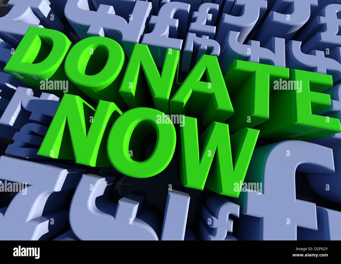'DONATE NOW' surrounded by British pound symbols - Stock Image