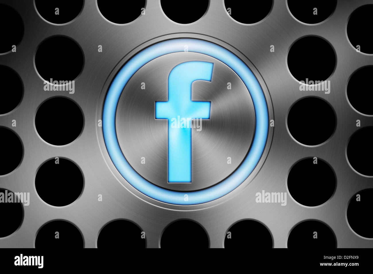 Blue glowing FACEBOOK icon button - Stock Image