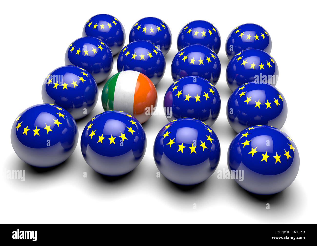 Close up of many balls with the European flag and one ball with the flag of Ireland - Stock Image