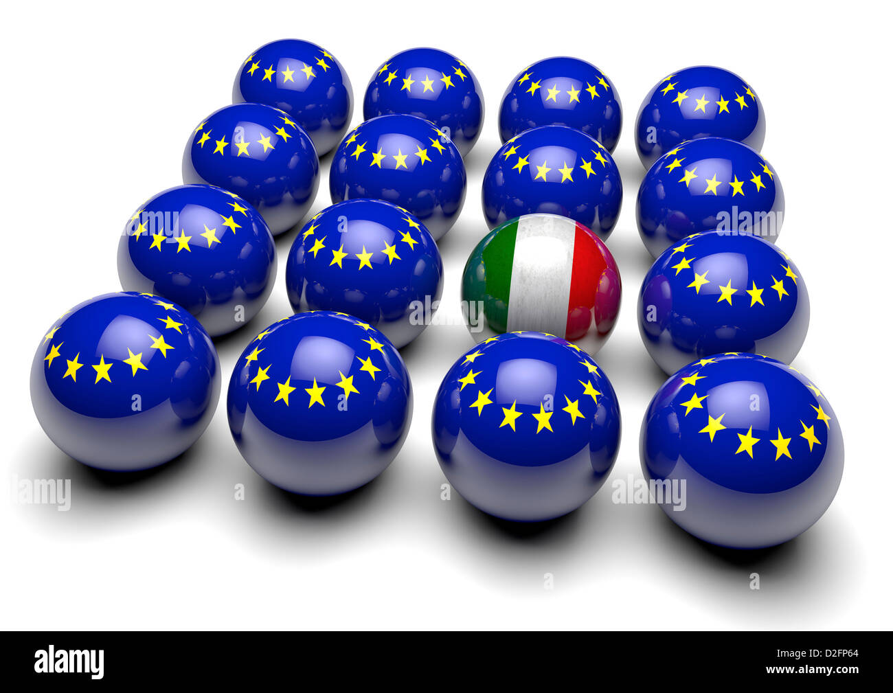 Close up of many balls with the European flag and one ball with the flag of Italy - Stock Image