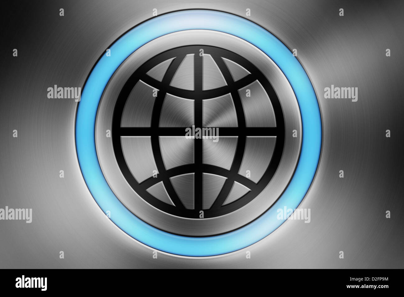 Glowing computer button with a globe symbol - global technology / communication / business / world / globalisation - Stock Image