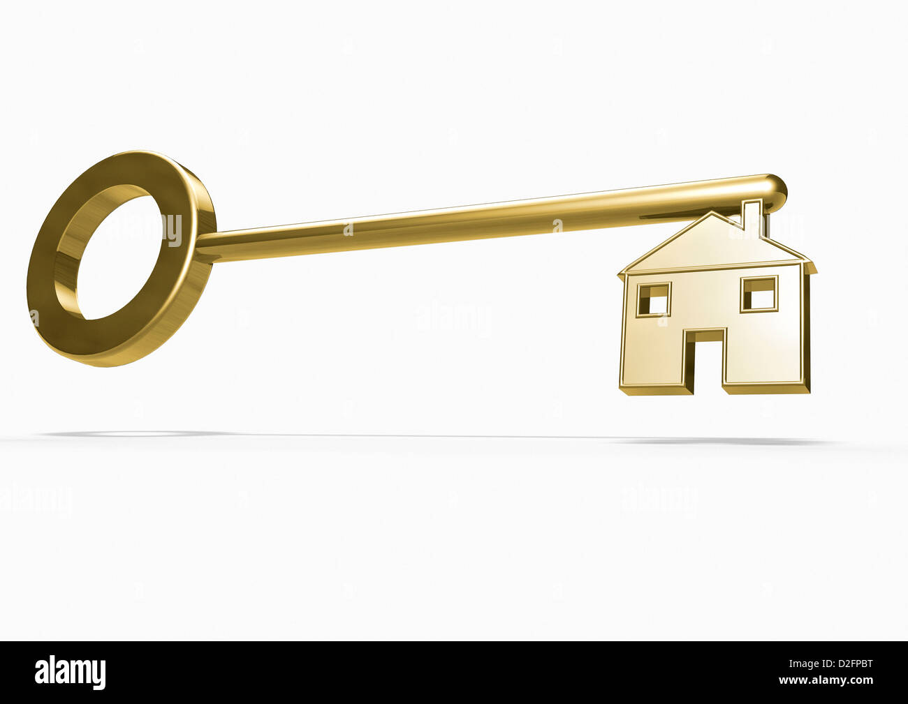 Gold Key With The Blade In The Shape Of A House On White
