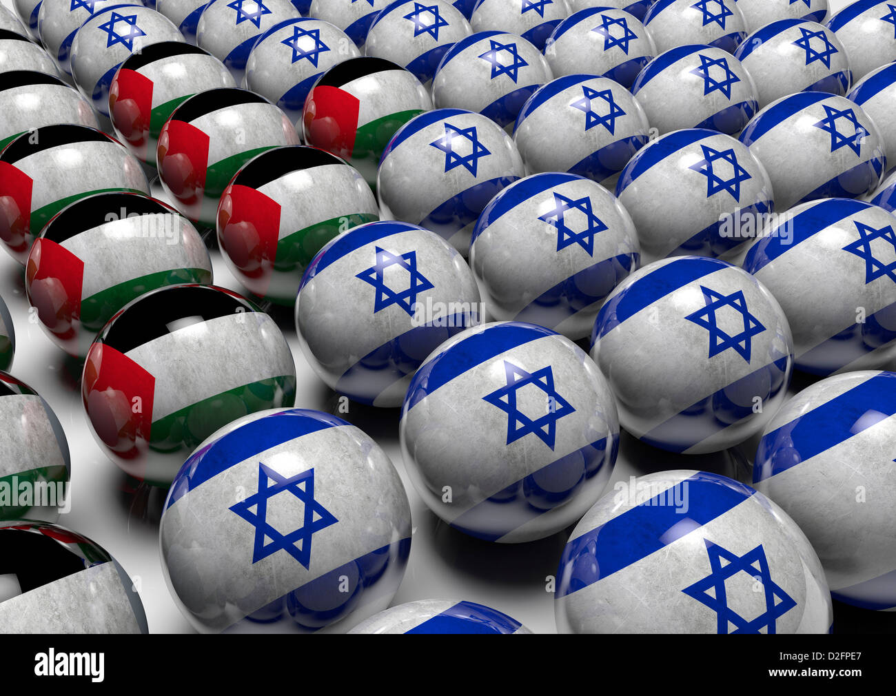 Concept image highlighting the balance of power between Israel and Palestine - Stock Image