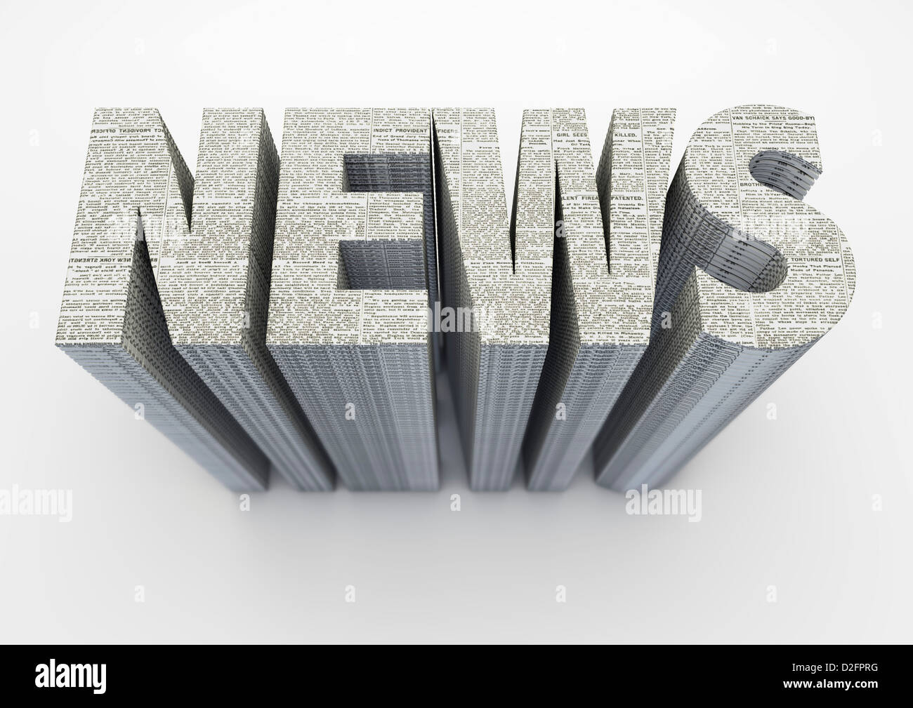 The word NEWS made from stacked newspapers on off white background - Stock Image