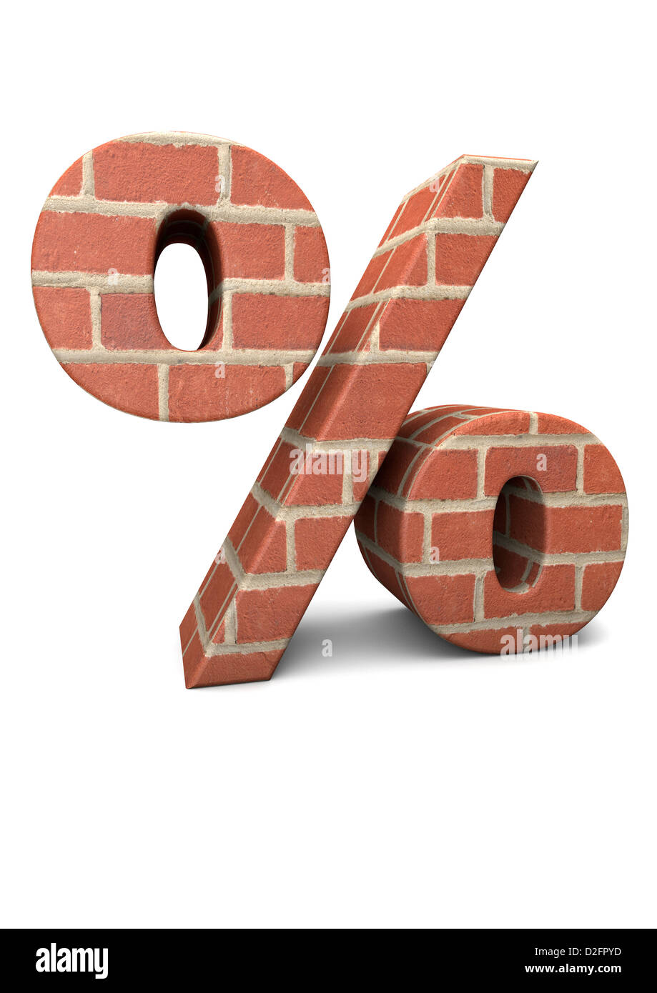 Percent symbol built from bricks isolated on white background - inflation / interest rates / housing concept - Stock Image