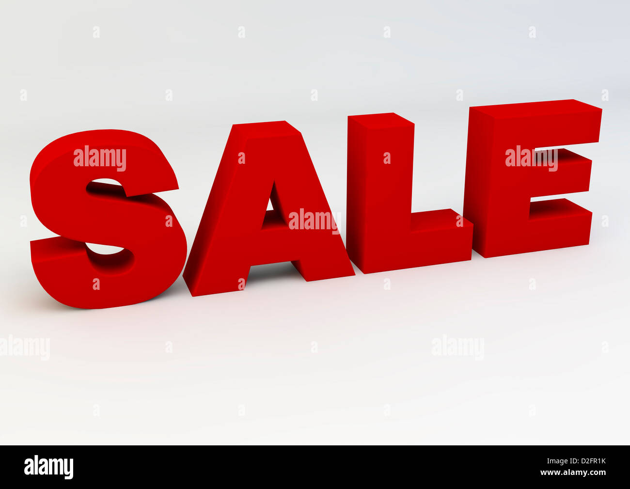 The word SALE in red on a white background - Stock Image