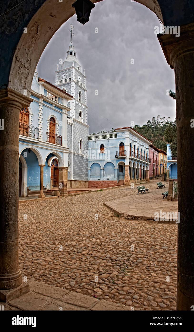 colonial architecture in totora bolivia south america stock photo
