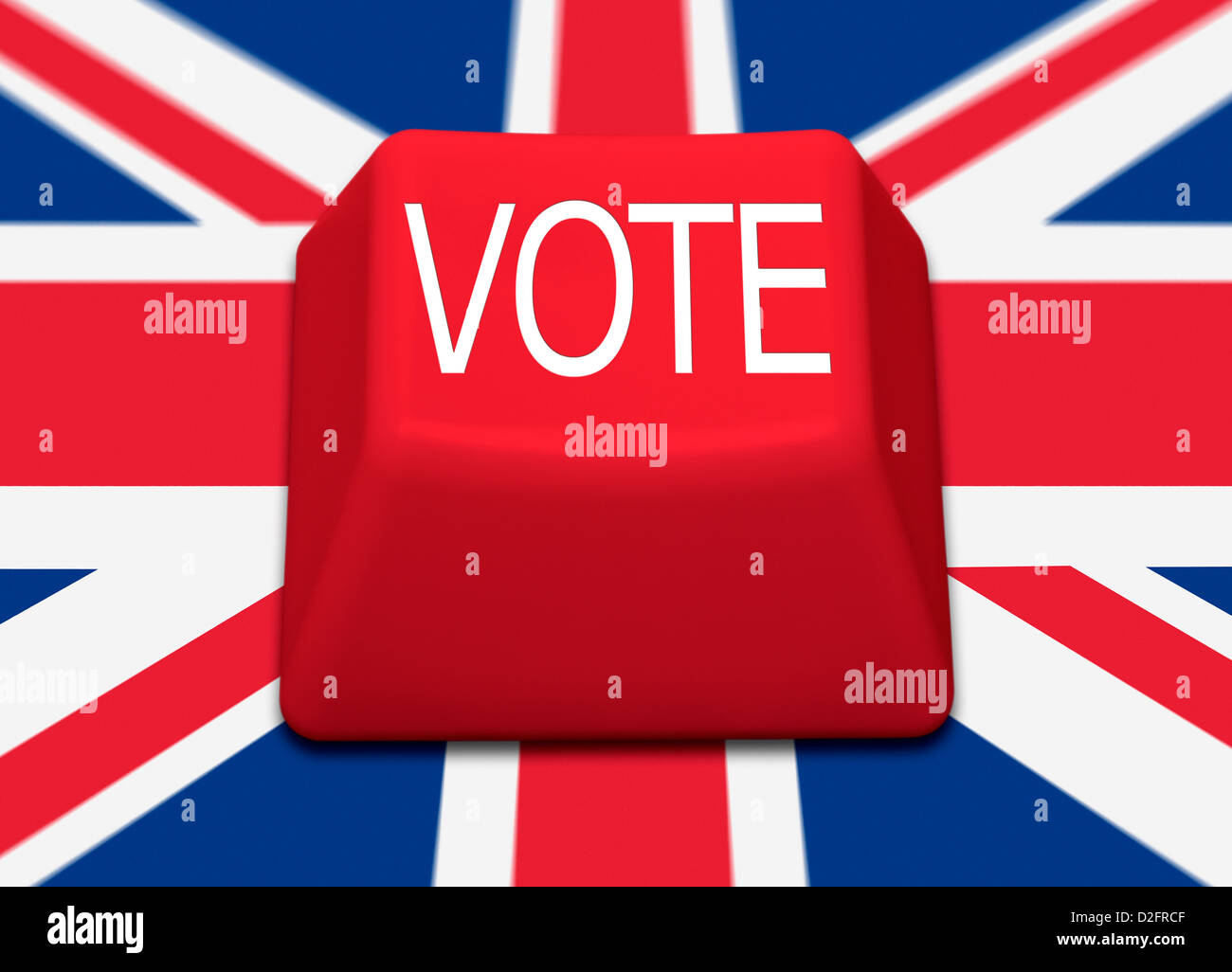 VOTE on a red computer key with Union Jack flag background. - Stock Image