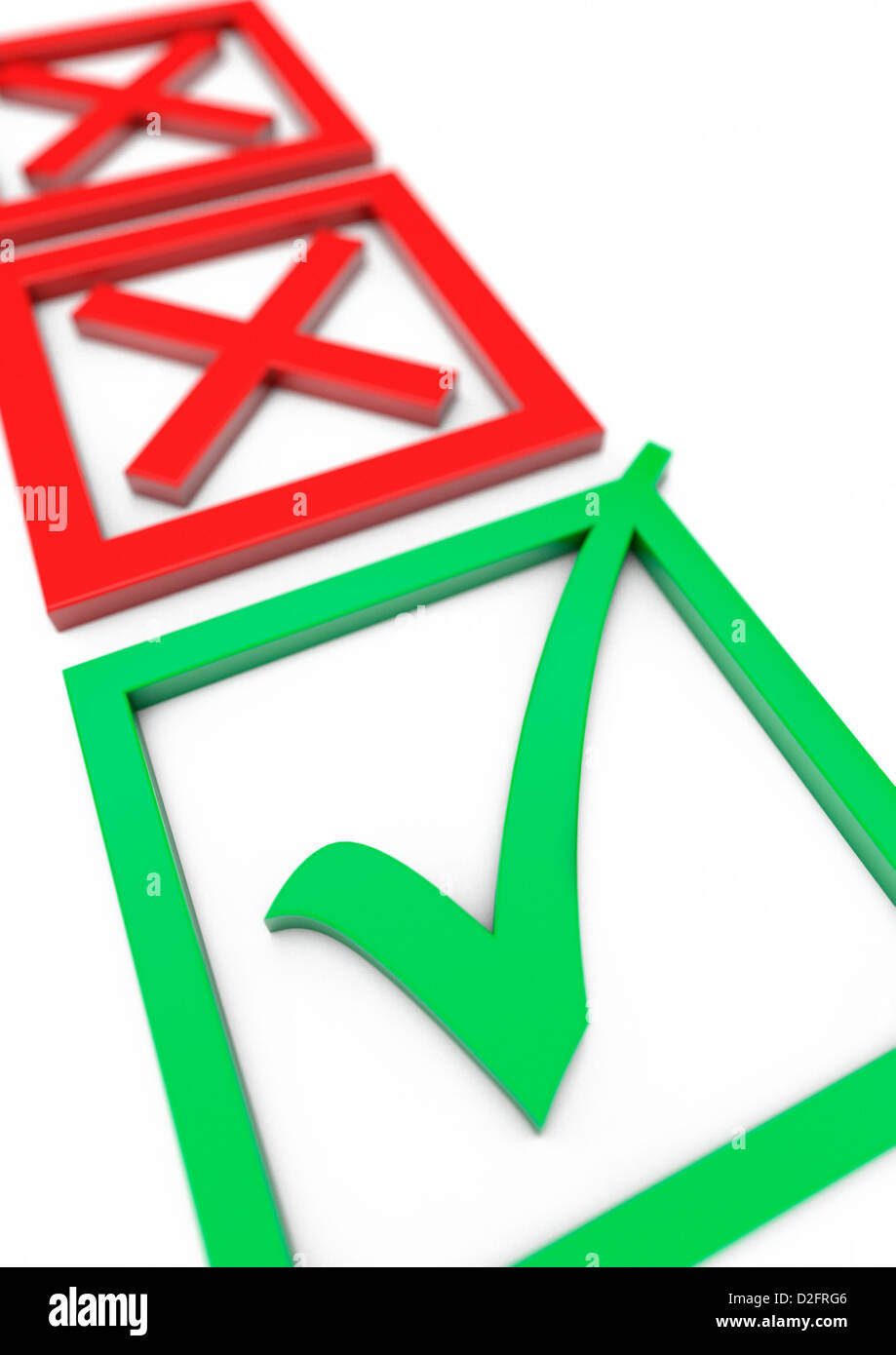 Voting slip or approval concept with two red crosses in the background and a green tick check mark in the foreground - Stock Image