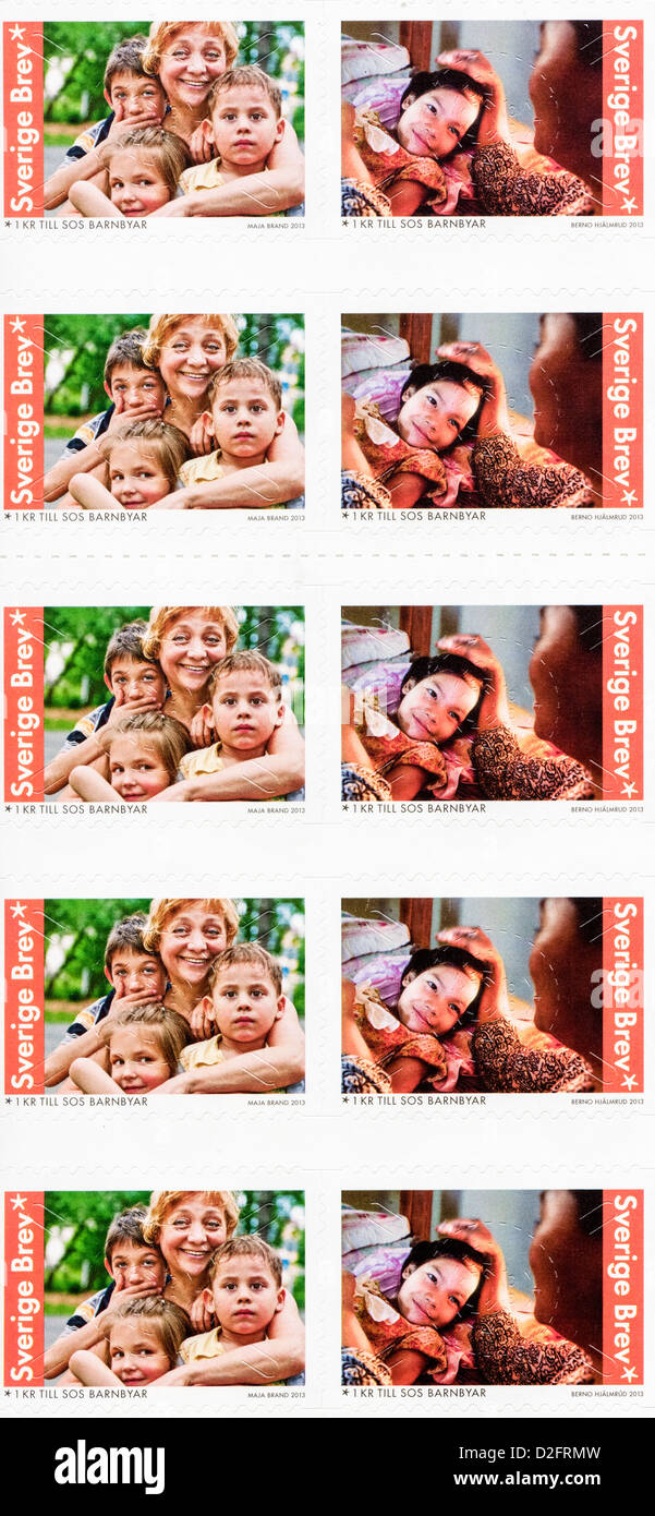 Postage stamps from Sweden in the  SOS Children Aid Organization series issued in 2013 Stock Photo