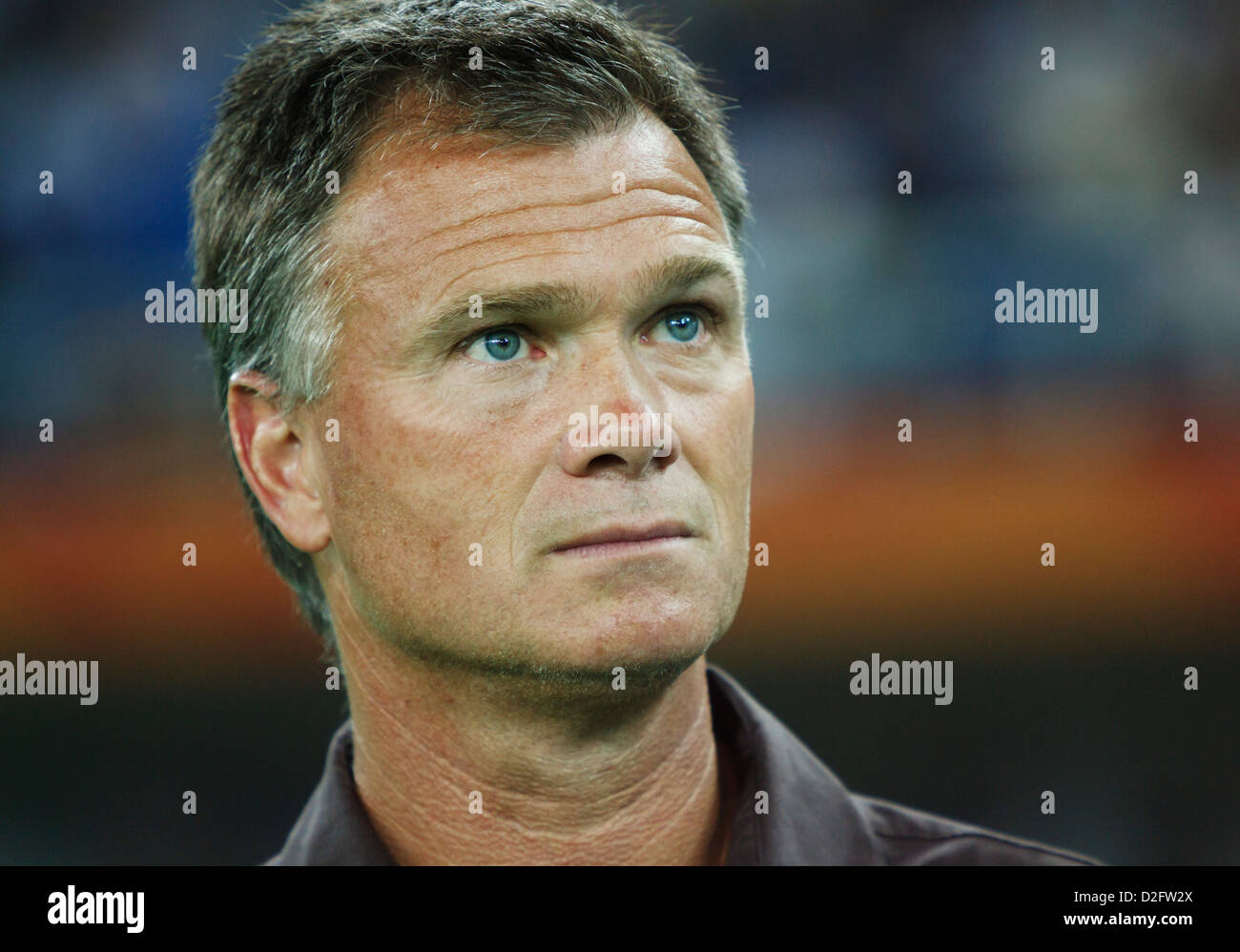 United States head coach Greg Ryan watches team introductions from the bench before a FIFA Women's World Cup - Stock Image