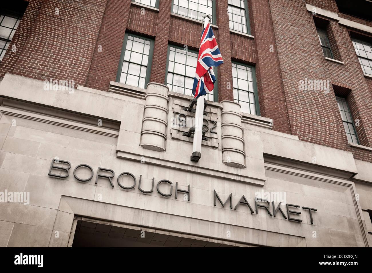 Entrance to Borough Market in London with Union Jack flag flying, England UK - Stock Image