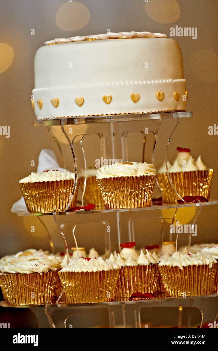 A tier of cakes for a wedding couple - Stock Image