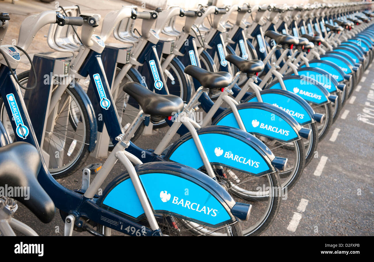 Barclays Boris Bikes for Hire in South East London UK. Transport for London Scheme - Stock Image