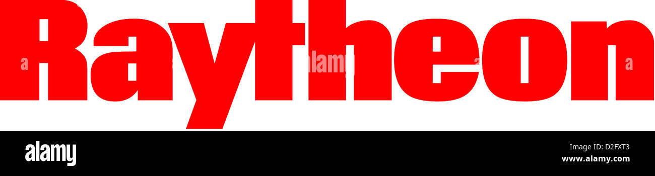 Logo of the American armour and electronics company Raytheon with seat in Massachusetts. - Stock Image