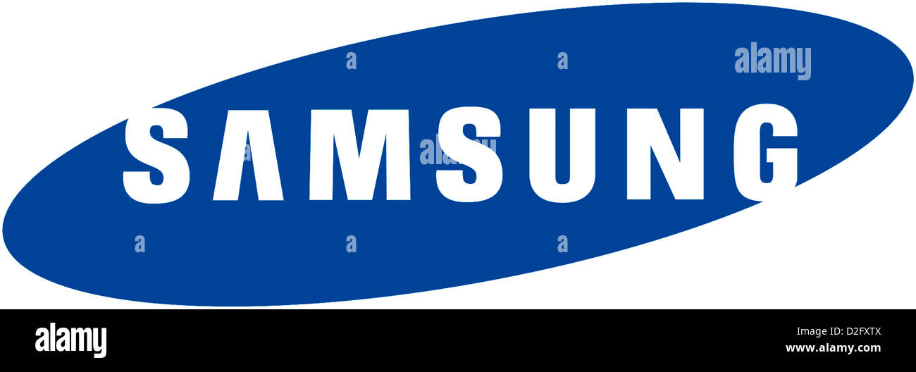 Logo of the South Korean electronics company Samsung with seat in Seoul. - Stock Image