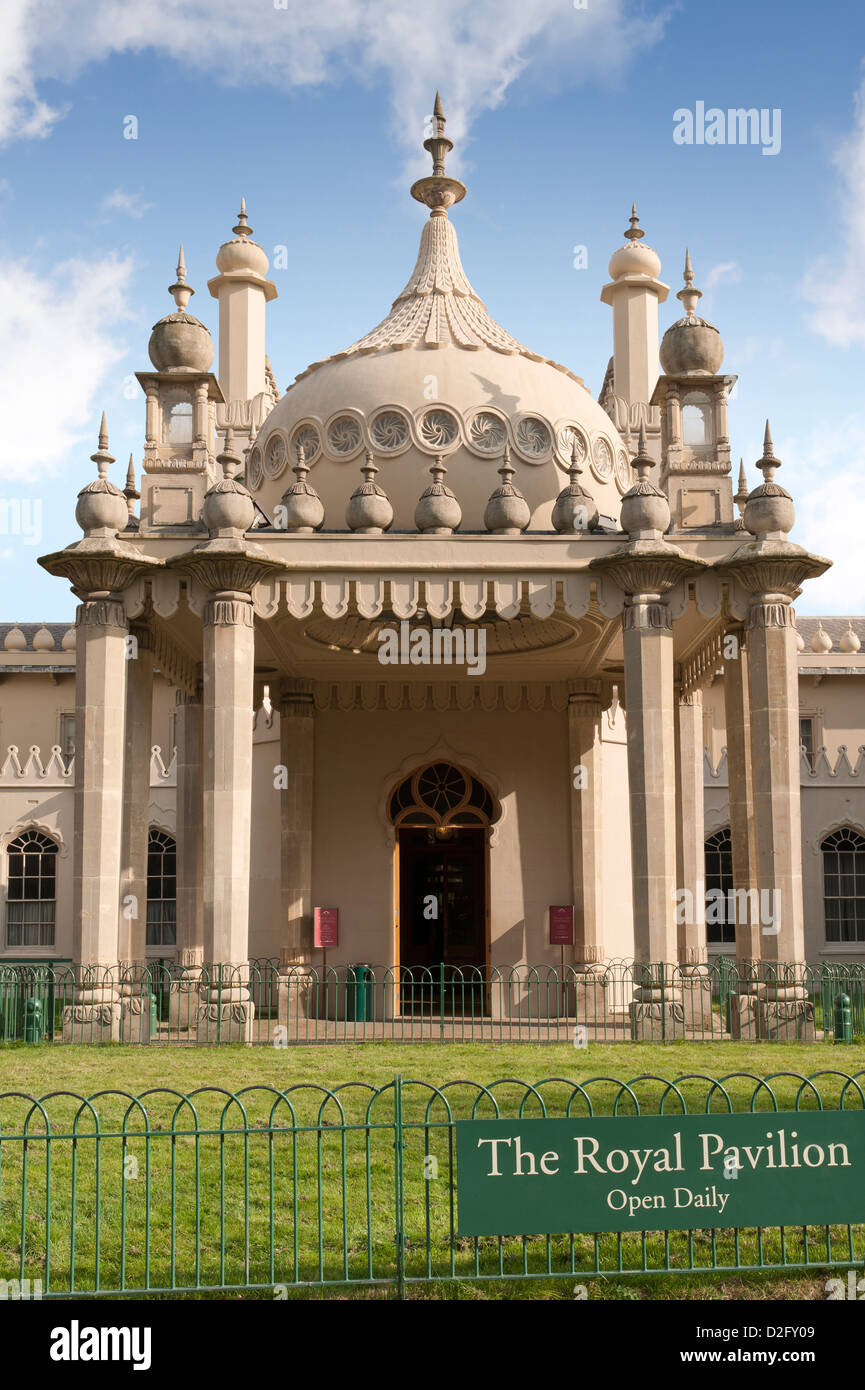 Front of the historic old Royal Pavilion in Brighton, West Sussex, England, UK - Stock Image