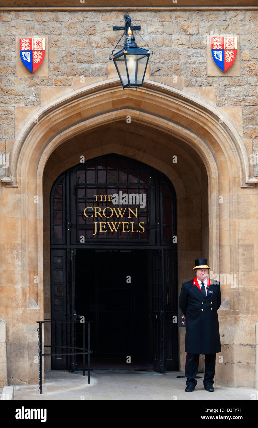 Grand entrance to the Jewel House at the Tower of London where the Crown Jewels are kept on display, London England - Stock Image