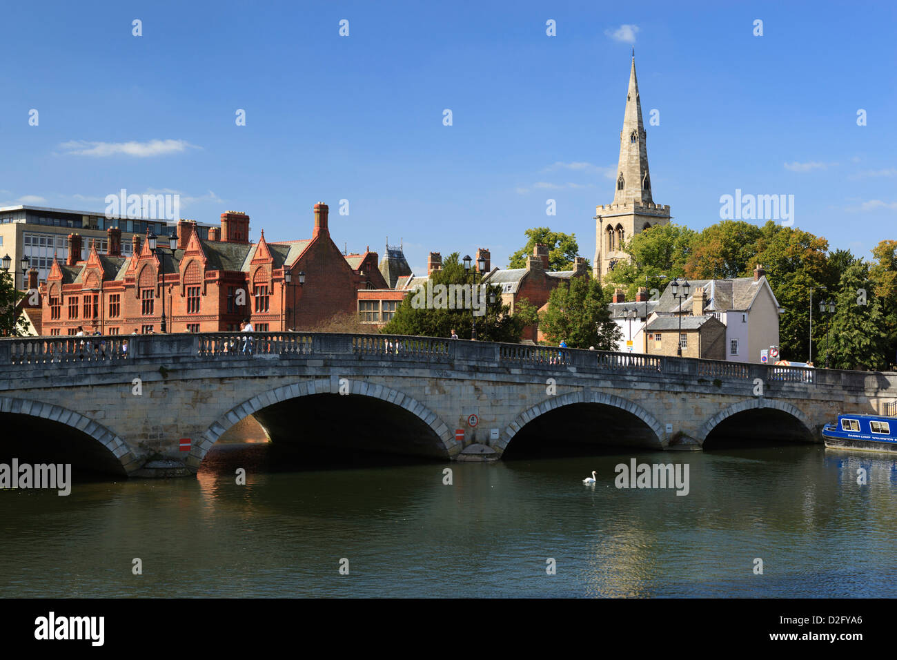 Church of St Paul and Bedford  over River Great Ouse - Stock Image