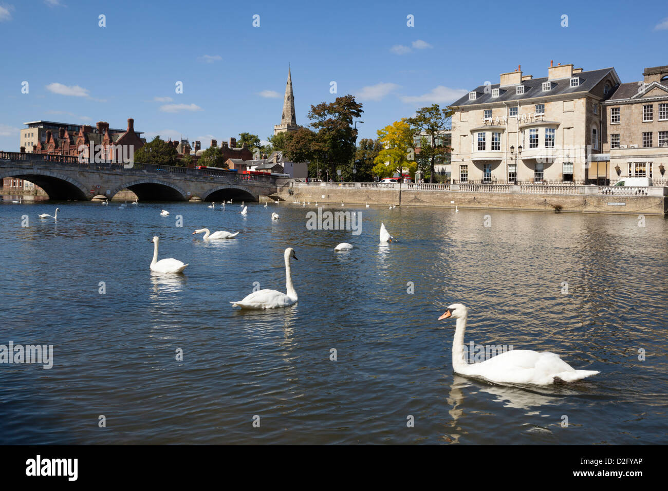 Swan Hotel by River Great Ouse - Stock Image