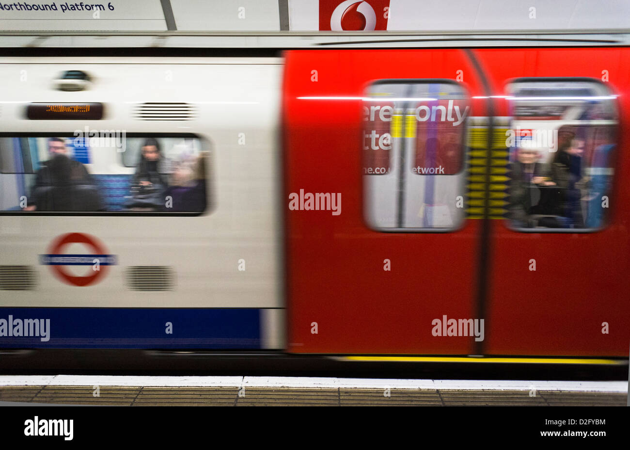 London Underground tube train moving, London, England, UK - Stock Image