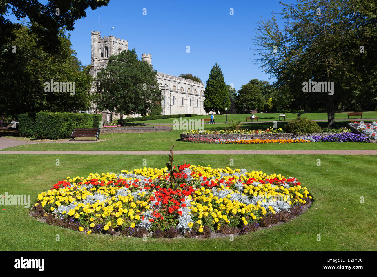 Priory Gardens and Priory Church of St Peter - Stock Image