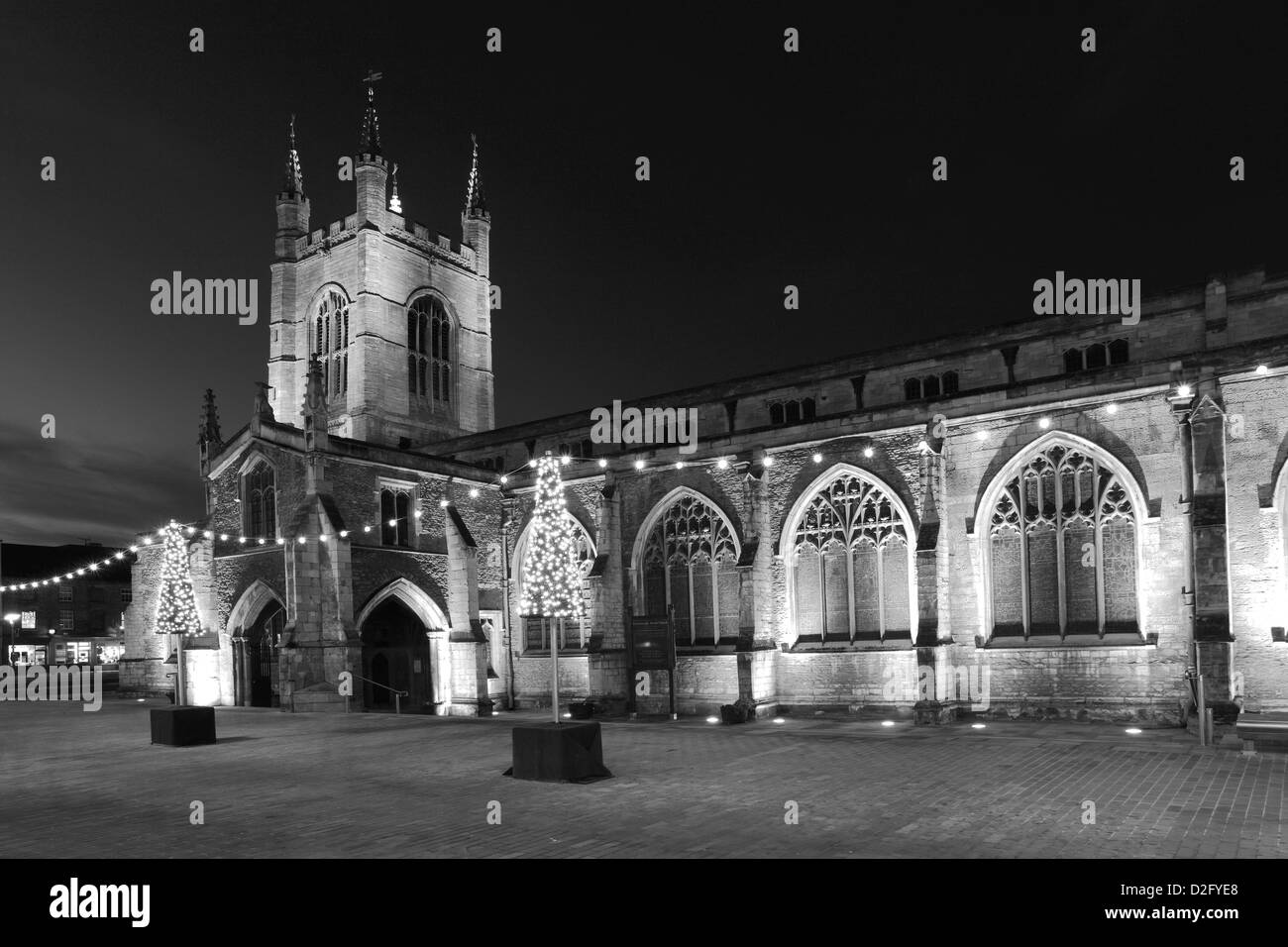 Christmas lights decorations over St Johns church, Cathedral Square, Peterborough City, Cambridgeshire, England, Stock Photo
