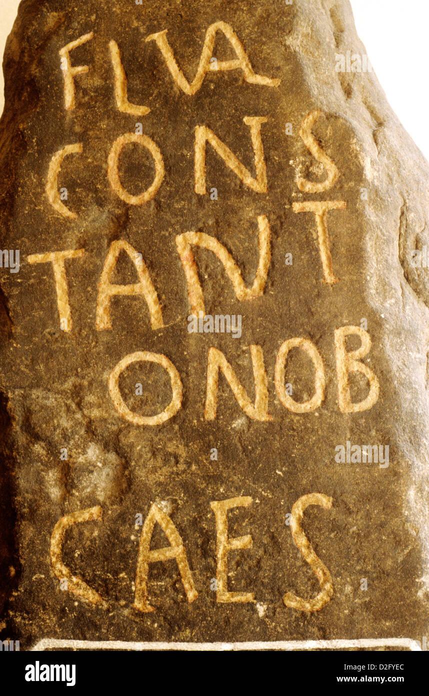 Roman Inscription, from Hadrians Wall, Tulie House Museum, Carlisle, Emperor Constantine Caesar, inscribed stone - Stock Image