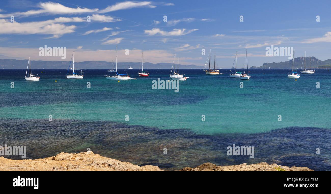 Plage d'Argent Porquerolles island - Stock Image